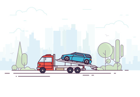 City tow truck on city road. Urban background, skyscrapers and buildings, park and trees. Emergency assistance on the road concept with city background. Modern line vector illustration. Evacuator.