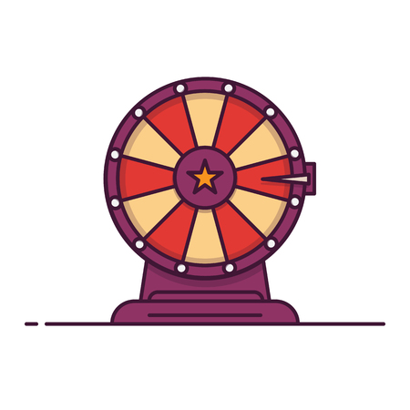 Wheel of fortune line style vector illustration. Spin roulette game. Win or lose lottery concept. Outline flat illustration. 일러스트