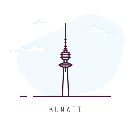 Kuwait city line style illustration. Big and famous Liberty tower in Kuwait . Arabic architecture city symbol of Kuwait. Outline building vector illustration. Travel and tourism banner.
