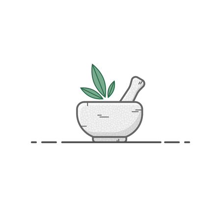 Mortar with pestle with gray stone texture and three green leaves in line style. Tool for cooking sauces and crushing spices. Medical device. Line style vector.