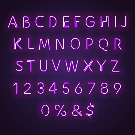 Alphabet neon sign. Glowing neon letters and numbers. Letters glowing in retro colors. Realistic bended neon tubes glowing in purple.