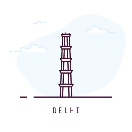 Delhi city line style illustration. Big and famous Qutub Minar tower in Delhi. India architecture city symbol of Delhi. Outline building vector illustration. Travel and tourism banner. Ilustração