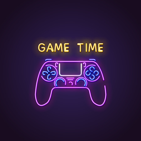 Gamepad neon sign. Glowing neon sign of modern gamepad. Game time letters glowing in retro colors. Gaming neon concept. Game night or retro party. Ilustração