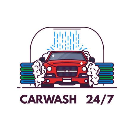 Carwash line style banner. Front view of luxury car on carwash. Clean service banner. Automobile on car wash cleaning. Line style vector illustration. Ilustração