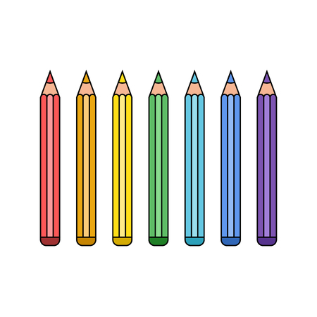 Multi set of colorful pencils in line style. Seven colors of the rainbow. A selection for school, work or creativity. Vector illustration. Ilustração
