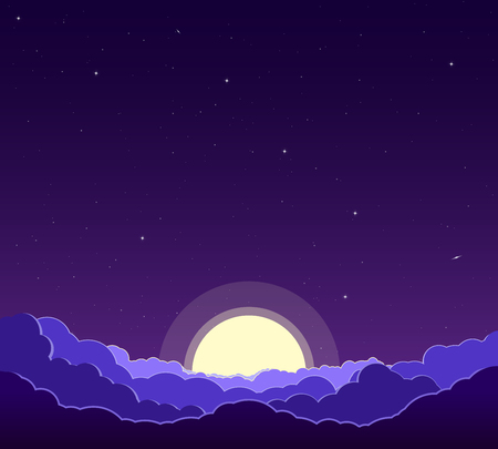 Purple night sky with stars, clouds and moon. Astrology, religion, astronomy. Landscape of the galaxy. Vector illustration.