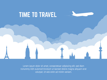 Travel banner. Plane flying over famous cities sights. Time to travel text. Flat style silhouette tourism banner. Tourism landmarks. Air journey to other countries.