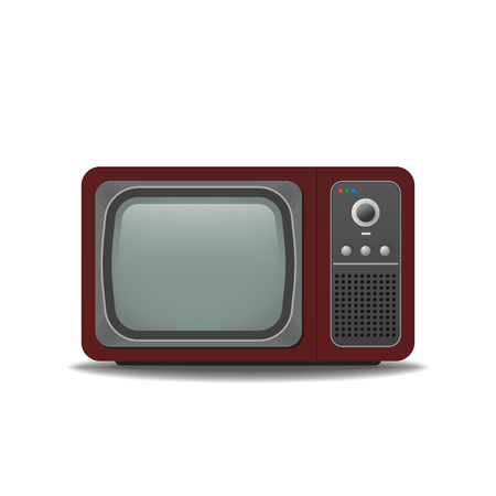 Old vintage TV-set. Realistic retro tube TV with shadows. Empty, blank screen with transparency. Template for television.