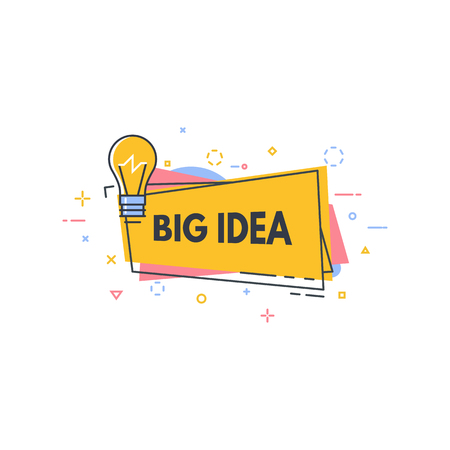 Big idea line style banner. Good idea or quick tip speech bubble. Consultant badge with text. Creativity and innovations line style concept. Ilustração
