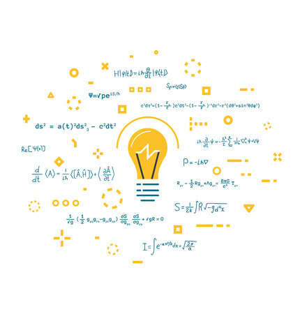 Imagination and innovation, creativity and thinking. Big science idea concept. Lightbulb and abstract thoughts in geometric colored shapes. Light bulb. Line style vector. Scientific knowledge. Ilustração