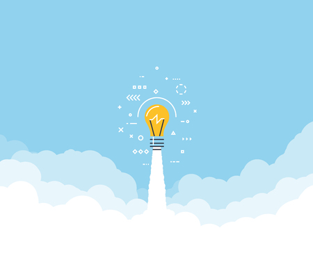Launched lightbulb flying through cloud. Clouds and sky. White exhaust and blue sky. New project or business breakthrough. Line style vector illustration. Big idea launched. Ilustração