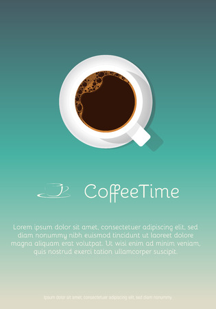 Retro style coffee cup poster. Blue sky background. Text placeholder. Template for coffee shop or menu. Ilustração