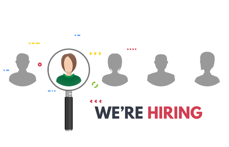 We are hiring poster with magnifying glass. Business recruiting concept. Human faces and employee searching from candidates. Employer searching professionals for vacant job. Ilustração