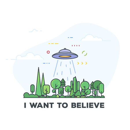 UFO in the forest enable abducting ray. Spaceship saucer flying above woods. I want to believe text. Line style vector illustration. Line style pixel perfect illustration.