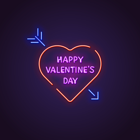 Valentines day neon sign. Glowing neon sign of text Happy Valentine`s Day. Letters glowing in retro colors. February 14 holiday. Ilustração