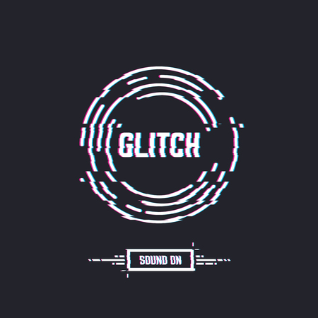 Glitch circles with text, stereo effect and distortion. Emblem of vinyl record or CD circle. DJ or retro party with music. Music label logo. Trendy glitch line style vector illustration. Ilustração