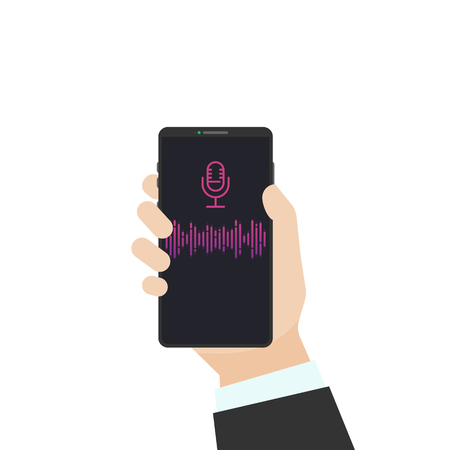 Voice assistant flat vector illustration. Human hand holding black phone with sound wave and microphone sign. Phone with voice recognition and communication app.