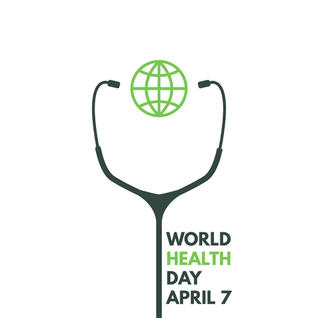 World health day. Stethoscope with globe poster. 7 april. Global medicine and healthcare. Wellness and health protection. Vector poster. Ilustração