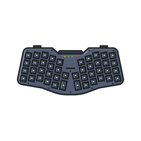 Modern ergonomic keyboard. Custom small portable keyboard with angled key rows for natural hand typing. Keypad and desktop or notebook usb ergo keyboard. Layered and programmable key. Ilustração