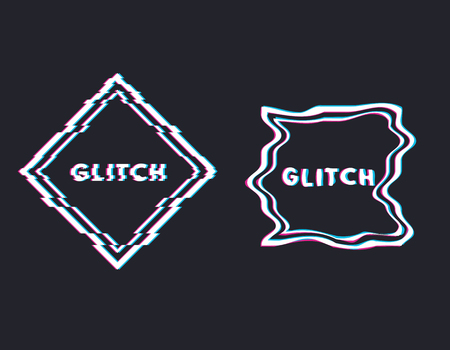 Glitch square with text, stereo effect and distortion. Emblem or logo. Trendy glitch line style vector illustration. Distortion and glitches. Ilustração