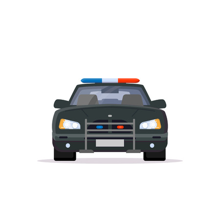 Front view of black police car with lights. Flat style vector illustration. Vehicle and transport banner. Modern patrol american car.