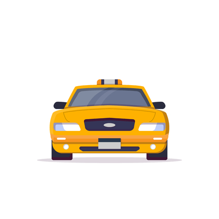 Front view of yellow taxi car with sign. Flat style vector illustration. Vehicle and transport banner. Classic american taxi car from New York. Transportation banner. Ilustração