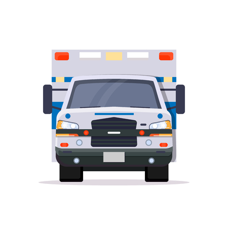 Front view of ambulance car with lights. Flat style vector illustration. Vehicle and transport banner. Modern ambulance american car. First aid van with paramedics. Emergency vehicle. Çizim