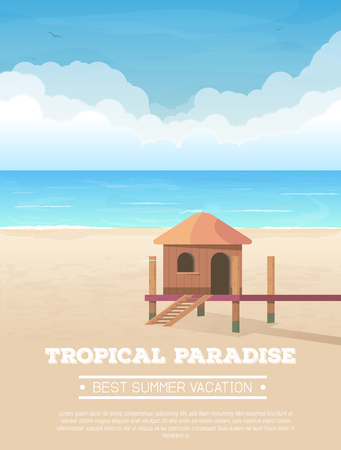 Summer vacation vertical banner. Bungalow tropical sand beach, sea or ocean with waves and big clouds on horizon. Small wooden house. Seaside view. Vector illustration. Hotel hut on exotic beach.