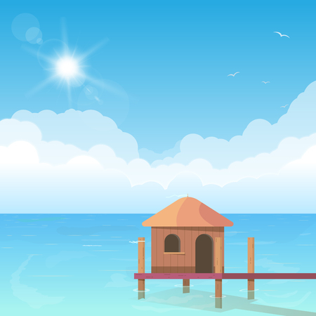 Beach bungalow standing in water. Ocean shore hotel hut. Wooden bungalow with ladder and ocean with clouds on background. Bright and big puffy clouds lying on the blue sea.