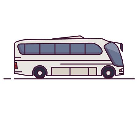 Seitenansicht des großen weißen Stadtbusses. Linienstil-Vektor-Illustration. Fahrzeug- und Transportbanner. Modernes Fahrzeug für den öffentlichen Nahverkehr. Seitenansicht des Busses.