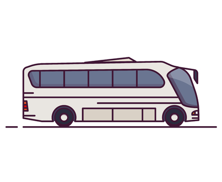 Side view of big white city bus. Line style vector illustration. Vehicle and transport banner. Modern public transportation vehicle. Side view of bus.