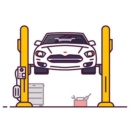 Car repair garage. Front view of white luxury sedan car on car lift. Line style vector illustration. Vehicle and transport repair banner. Mechanic shop and car diagnostic.