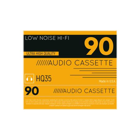Retro style audio cassette three side cover. Back and sides of paper cover. Hi-fi cassette box fantasy 70-80s design.