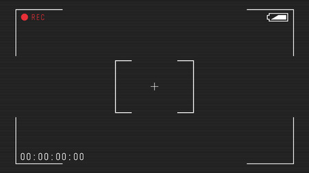 Video camera viewfinder overlay. 16:9 full hd format of frame template. Camera frame vector template. White lines and text, rec icon with timing on black background with scanlines. Ilustração