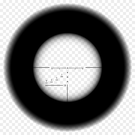 Realistic sniper scope sight. Sniper scope with measurement marks on transparent background. Black overlay in sniper scope crosshairs view. Realistic military optical sight. Imagens - 124814323