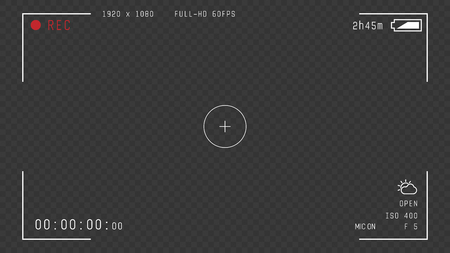 Video camera viewfinder overlay. 16:9 full hd format of frame with 60 fps template. Camera frame vector template. White lines and text, rec icon with information on transparent dark background.