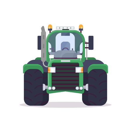 Front view of tractor for farming. Flat style vector illustration. Agriculture vehicle and transport banner. Modern agricultural machinery. Farm harvest engine vehicle. Imagens - 124700613