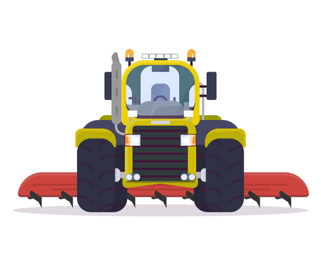 Front view of tractor for farming with cultivator. Flat style vector illustration. Agriculture vehicle with farm implement for tillage. Modern agricultural machinery. Farm harvest engine vehicle.