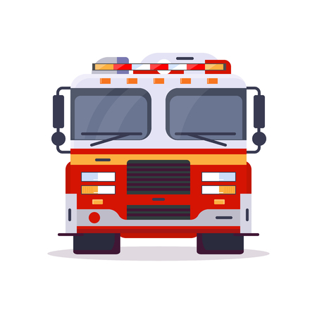 Front view of fire engine car with lights. Flat style vector illustration. Vehicle and transport banner. Modern firefighter american car. 911 truck with firefighter. Emergency fire engine vehicle. Imagens - 124636341