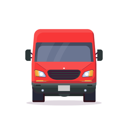 Front view of red delivery truck. Flat style vector illustration. Vehicle and transport banner. Delivery and shipping service banner. Minivan transportation concept. Freight business.