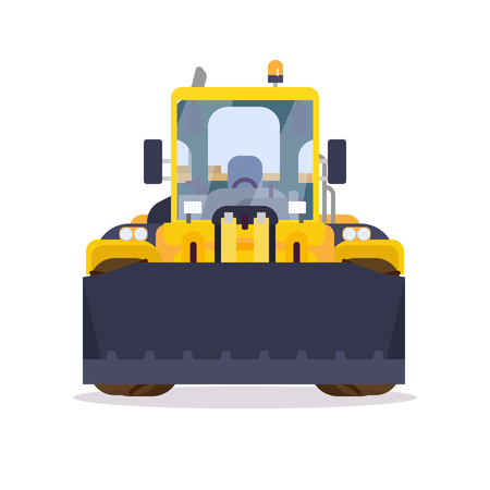 Front view of yellow bulldozer or wheel loader. Flat style vector illustration. Construction vehicle and quarry machinery banner. Modern excavator machine. Loader with front bucket, engine vehicle. Ilustração