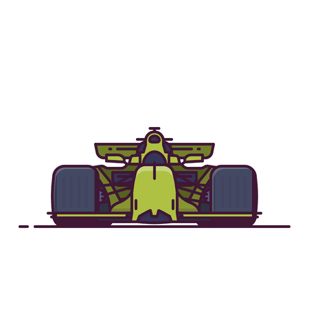 Front view of sport racing car. Line style vector illustration. Formula vehicle banner. Racing cup car from front view. Championship auto pixel perfect banner.