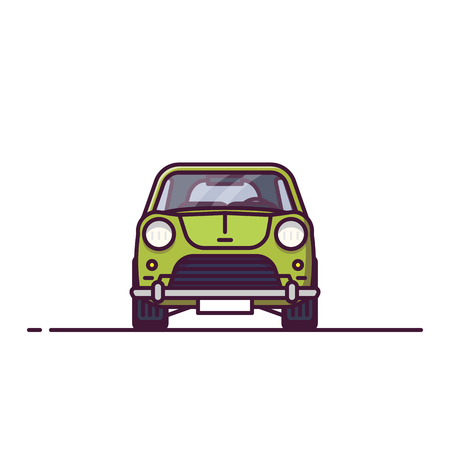 Front view of retro car. Line style vector illustration. Old vehicle banner. Classic motor car from front view. Vintage auto pixel perfect banner. Ilustração