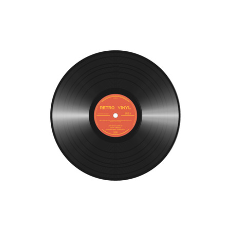 Retro style vinyl disc with label and tracks. Black polyvinyl chloride disc. Realistic vector vinyl record 60-80s design.