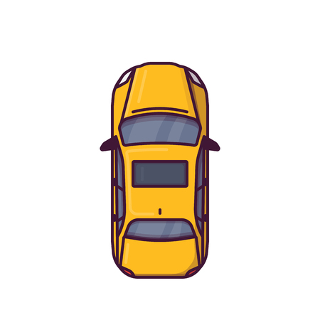 Top view of modern car. Line style vector illustration. Modern vehicle banner. New motor car from above view. Sedan auto pixel perfect banner.