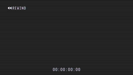 Video camera rewind overlay. 16:9 full hd format frame template. Camera viewfinder frame vector template. White lines and text, rew icon with timing on black background scanlines. To wind of tape. Imagens - 124182269