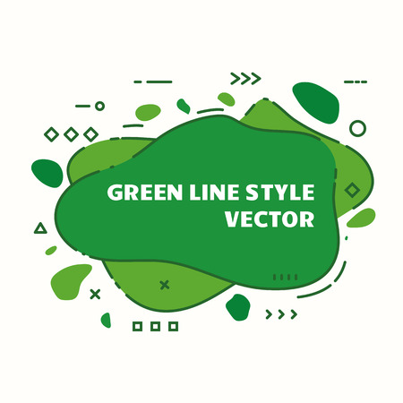 Abstract graphic line background. Eco green banner with a splash shape. Flyer vector template. Cover design template for presentation. Green dynamic line composition. Ilustração
