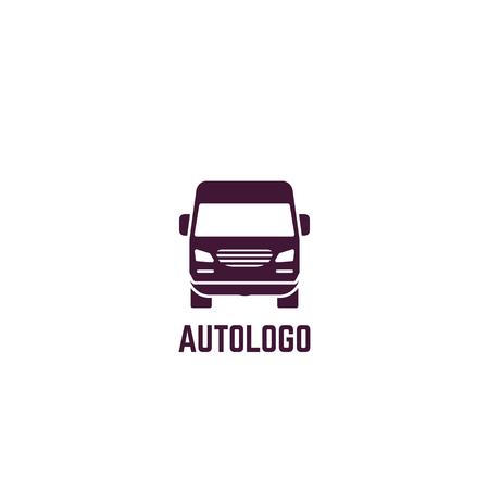 Truck logo. Front view of delivery truck. Silhouette style vector illustration. Vehicle and transport banner. Delivery and shipping service banner. Minivan transportation concept. Freight business. Ilustração