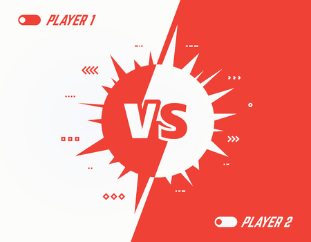 Versus vector template background. Battle or competition concept template. Red and white players. Video games or fighting competitors. VS letters, spikes and abstract lines on two color background.