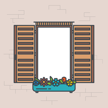 Open window frame. Line style vector illustration. Retro design style window banner. Front view with flowers pot and shutters. View through window pixel perfect banner.